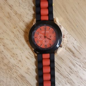 Geneva red and black men's rubber watch
